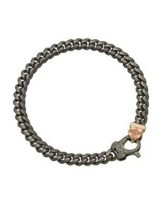 Marco Dal Maso Men's Flaming Tongue Burnished Silver Chain Bracelet w/ 18k Pink Gold-Plate Clasp