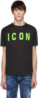 DSQUARED2 Black and Green Acid Punk Icon Cool Fit T-Shirt