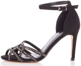 9cdbc5f35 Dorothy Perkins Womens  Quiz Black Faux Suede Diamante Heeled Sandals