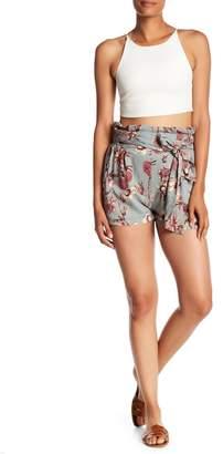 Angie Printed Paperbag Waist Tie Shorts