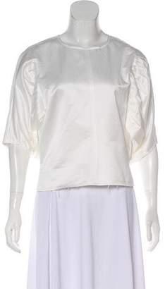 Saint Laurent Scoop Neck Short Sleeve Blouse