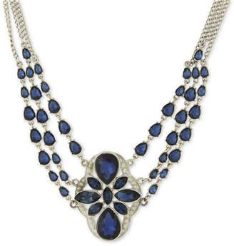 2028 Silver-Tone Multi-Chain Stone Statement Necklace