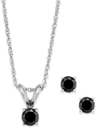 Macy's Black Diamond Jewelry Set in 10k White Gold (1/5 ct. t.w.)