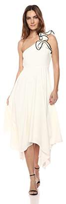 Halston Women's One Shoulder Ruffle Detail Crepe Gown