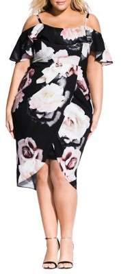 City Chic Plus Off-The-Shoulder Floral Dress