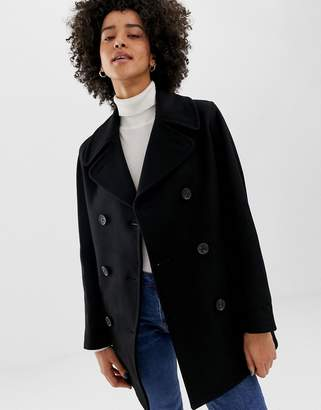 Gloverall Reefer double breasted coat in wool blend