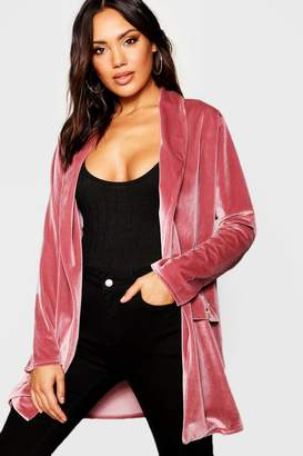 boohoo Velour Button Detail Duster Jacket