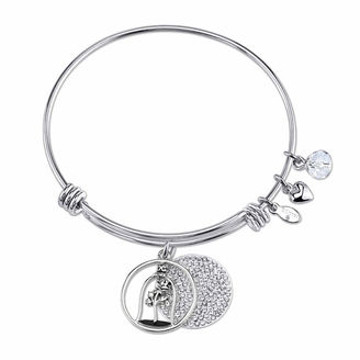 DISNEY Disney Womens Beauty and the Beast Clear Crystal Silver Over Brass Bangle Bracelet $60 thestylecure.com