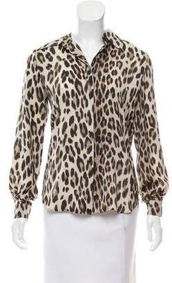 L'Agence Animal Print Button-Up Top
