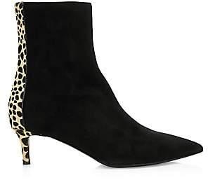 Giuseppe Zanotti Women's Leopard-Print Calf Hair & Suede Kitten Heel Ankle Boots