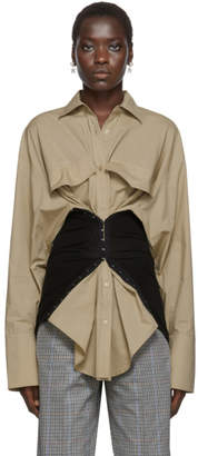 BEIGE Pushbutton and Black Lace-Up Corset Shirt