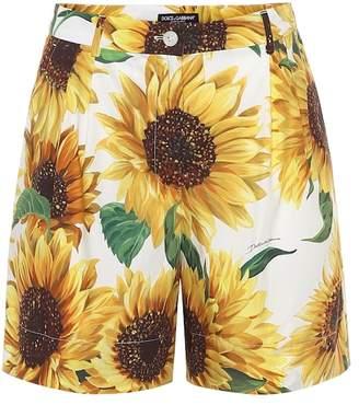 Dolce & Gabbana High-rise sunflower-print shorts