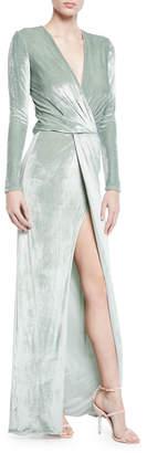 Galvan Long-Sleeve Faux-Wrap Velvet Dress