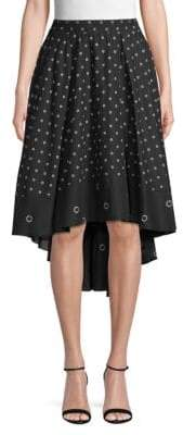 Kenneth Cole New York Grommet-Print High-Low Cotton Skirt
