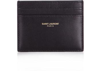 SAINT LAURENT Smooth-leather cardholder $167 thestylecure.com