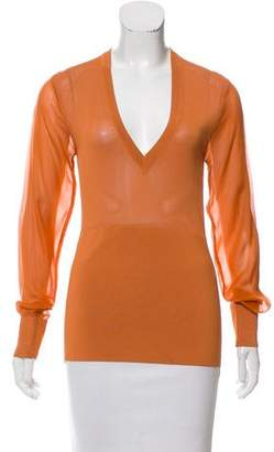 Reed Krakoff Long Sleeve V-Neck Top