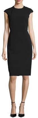 Lafayette 148 New York Cap-Sleeve Talon Sheath Dress w/ Lace Back, Black, Plus Size