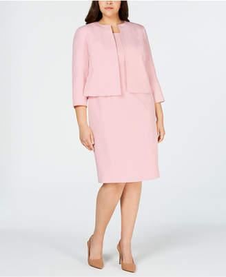 Le Suit Plus Size Open-Jacket Dress Suit