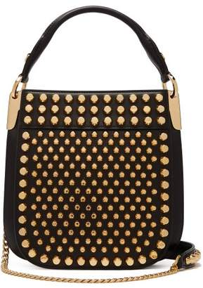 Prada Margit City Small Studded Leather Cross Body Bag - Womens - Black