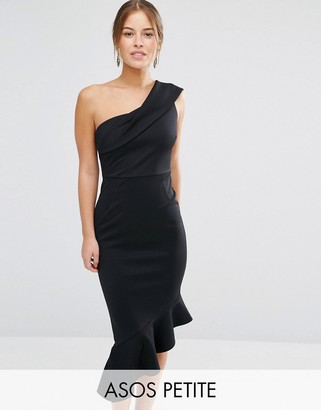 ASOS Petite ASOS PETITE Scuba One Shoulder Peplum Midi Dress $58 thestylecure.com