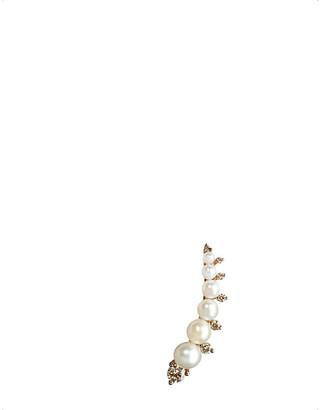Rosegold Annoushka Diamonds & Pearls 18ct rose-gold right ear pin