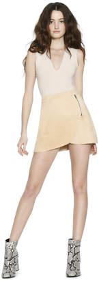 Alice + Olivia Lennon Suede Side Zip Overlap Mini Skirt