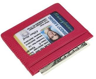 DKER DEEZOMO RFID Blocking Genuine Leather Slim Super Thin Card Holder With ID Card Window