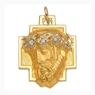 FINE JEWELRY Religious Jewelry 14K Yellow Gold Diamond-Accent Christ Head Greek Cross Charm Pendant