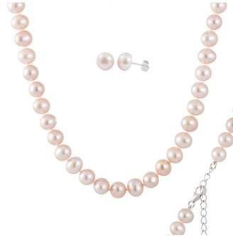 Splendid Pearls 8-9mm Dyed Pink Freshwater Pearl Earring & Necklace Set