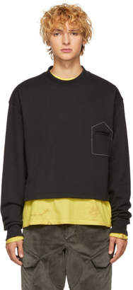 Pyer Moss Black Cropped Pocket Sweatshirt