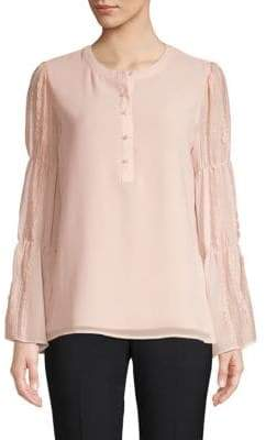Ruched Lace-Sleeve Blouse