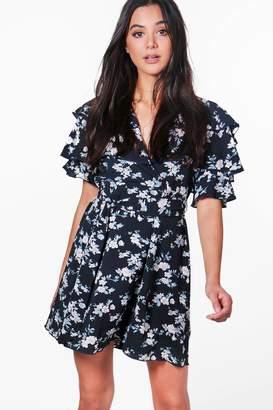 boohoo Floral Ruffle Tiered Tea Dress