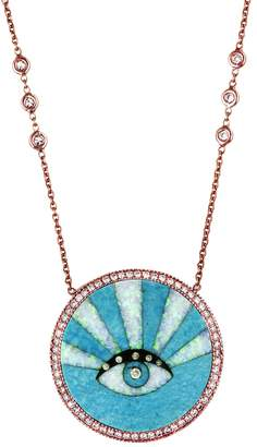 Jacquie Aiche Turquoise Eye Rays Inlay Necklace