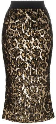 Dolce & Gabbana leopard print sequin embellished midi skirt