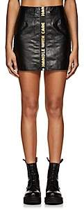 "Heron Preston Women's ""Handle With Care"" Leather Miniskirt-Black"