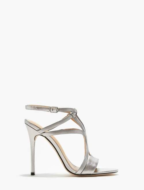 Halston Karla Metallic Leather High Heel Sandal