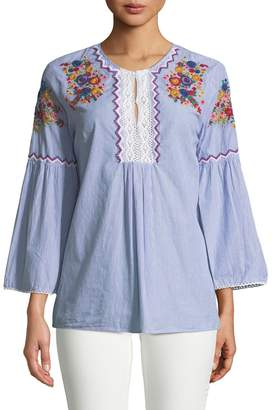 Chelsea & Theodore Embroidered Bell-Sleeve Tunic