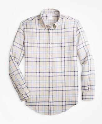 Brooks Brothers Regent Fit Tartan Irish Linen Sport Shirt