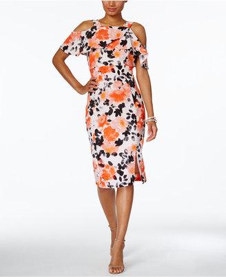 Jax Floral-Print Cold-Shoulder Sheath Dress $148 thestylecure.com