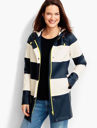 Stripe Hooded Raincoat $159 thestylecure.com
