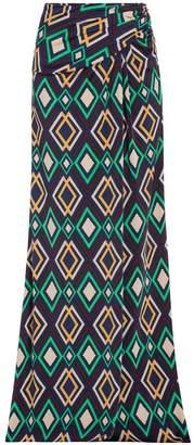 Issa Print Jersey Maxi Skirt