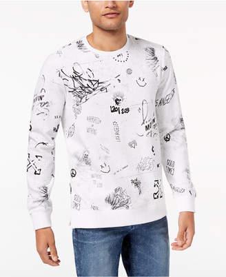 GUESS Men's Graffiti-Print Sweatshirt