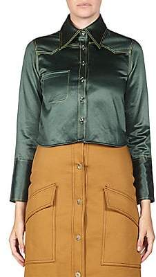 Acne Studios Women's Rabecca Cropped Satin Blouse