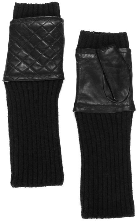 Carolina Amato Quilted Leather/Knit Fingerless Gloves