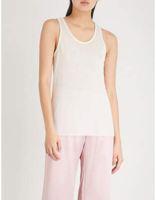 Theory Raw-hem cashmere tank top
