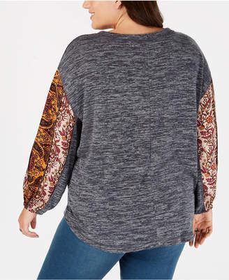 Style&Co. Style & Co Plus Size Colorblocked Bubble-Sleeve Top