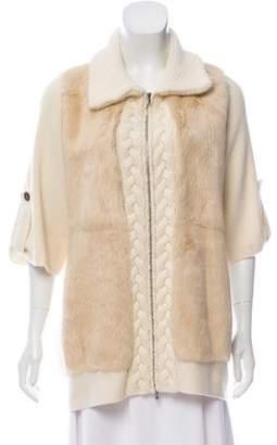 Arabella Rani Fur-Accented Zip-Up Cardigan