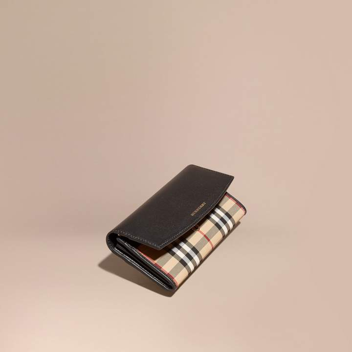 Burberry Horseferry Check and Leather Continental Wallet