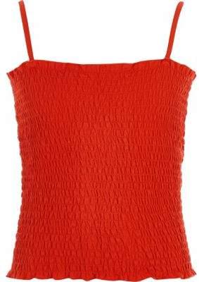 River Island Girls orange shirred cami top