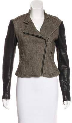Burberry Leather-Paneled Tweed Jacket